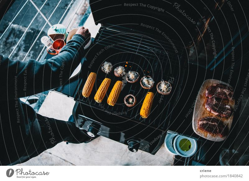 Top Down shot of a barbecue with beef and vegetables on balcony Eating Lifestyle Food Leisure and hobbies Vegetable Balcony Home Mushroom Meat Dinner Diet Lunch