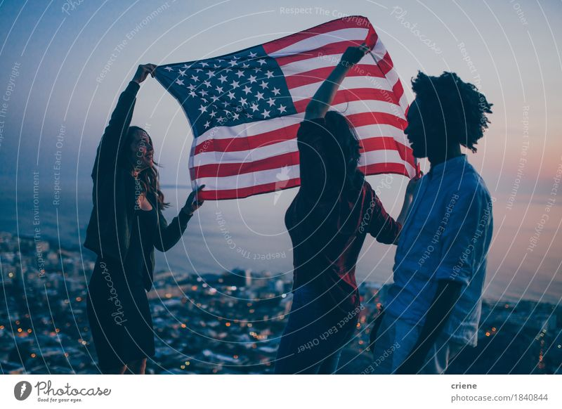 Group of Teenager celebrating with USA flag on mountain Lifestyle Joy Vacation & Travel Tourism Adventure Freedom Ocean Feasts & Celebrations Human being