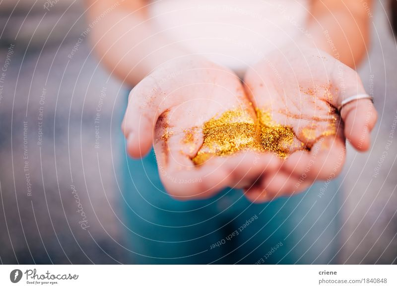 Close-up of Hands holding golden glitter Woman Youth (Young adults) Beautiful Young woman Adults Natural Lifestyle Art Dream Copy Space Decoration Gold Fingers