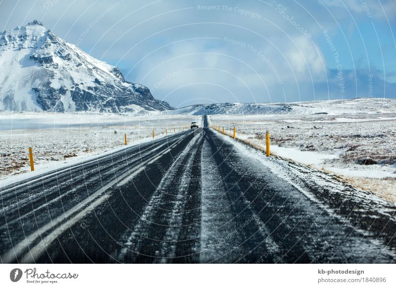 Wet and slippery road in Iceland, winter Vacation & Travel Tourism Adventure Far-off places Winter Winter vacation Mountain Nature Driving wet wintertime snow
