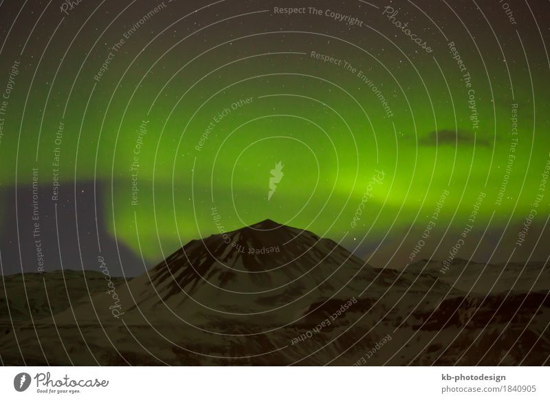 Green Northern lights in Iceland Winter Aurora Borealis Vacation & Travel northern lights Starling Natural phenomenon clouds astrology motion mountain mountains