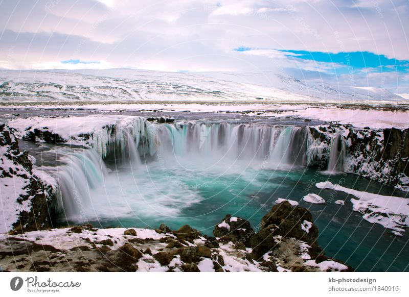 Waterfall Godafoss in wintertime in Iceland Vacation & Travel Tourism Far-off places Sightseeing Winter Winter vacation Nature Landscape waterfall: Godafoss