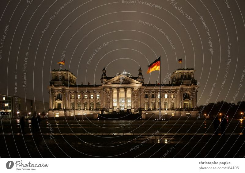 Berlin Reichstag building, at night Capital city Downtown Manmade structures Town German Flag Seat of government Parliament built Politics and state Germany
