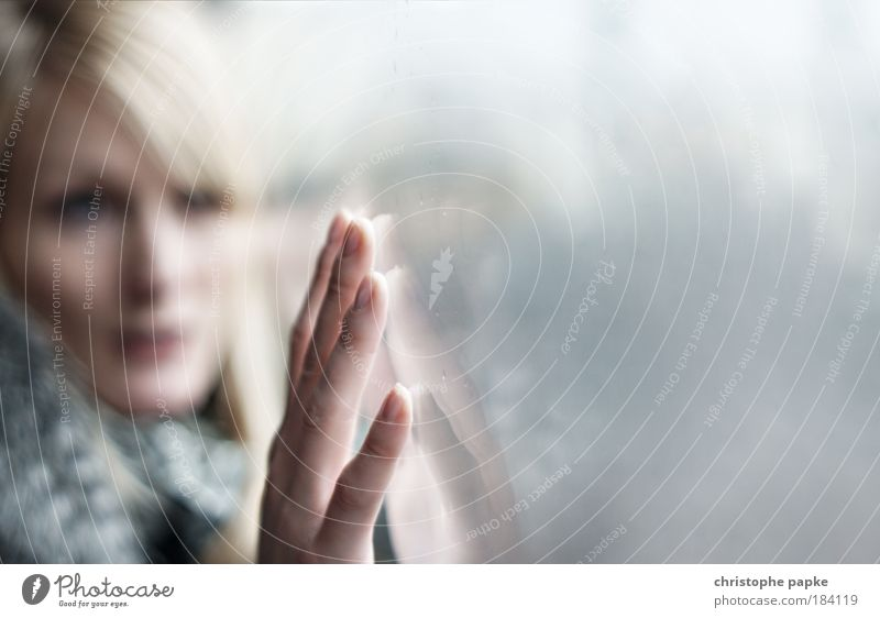 Woman Human being Hand Youth (Young adults) Face Portrait photograph Feminine Dream Sadness Think Reflection Wait Adults Glass Fingers Grief