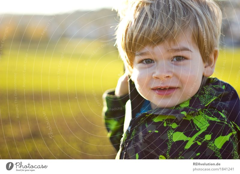 In autumn Human being Child Toddler Boy (child) Infancy Face 1 1 - 3 years Environment Nature Landscape Meadow Field Smiling Authentic Friendliness Happiness