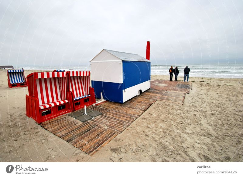 White Ocean Blue Red Beach Clouds Loneliness Sadness Waves Wind Empty Baltic Sea Beach chair Rügen Kiosk Store premises