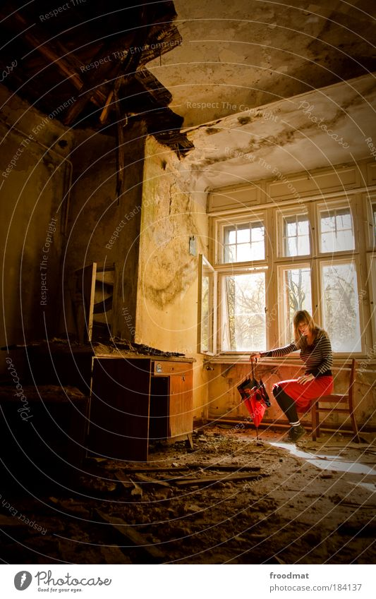 crisis-proof Colour photo Subdued colour Multicoloured Interior shot Day Sunlight Wide angle Full-length Downward Human being Feminine Young woman