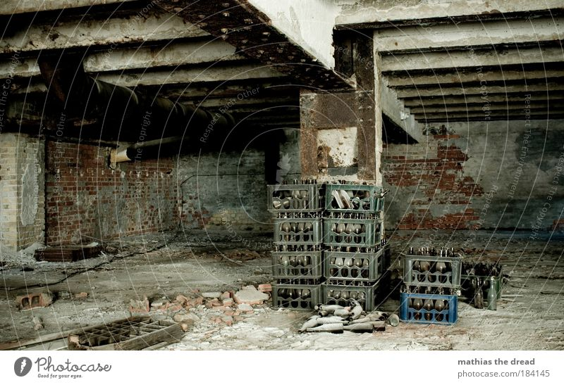 Dark Wall (building) Architecture Wall (barrier) Stone Dirty Industry Manmade structures Factory Derelict Beer Bottle Alcoholic drinks Cold drink Night life