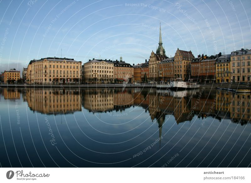 slussen behind me Colour photo Exterior shot Day Reflection Central perspective Stockholm Town Capital city Downtown Old town House (Residential Structure)