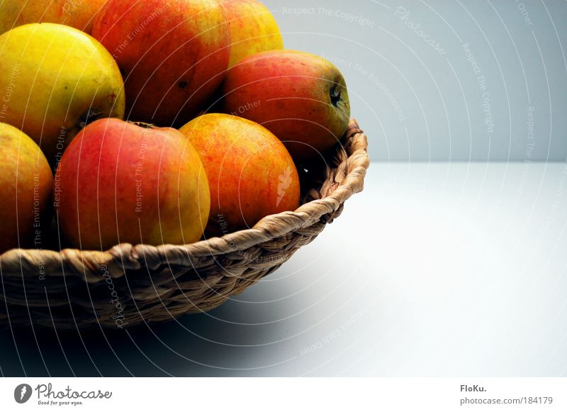 apple basket Colour photo Interior shot Deserted Copy Space right Neutral Background Day Contrast Sunlight Food Fruit Apple Nutrition Organic produce