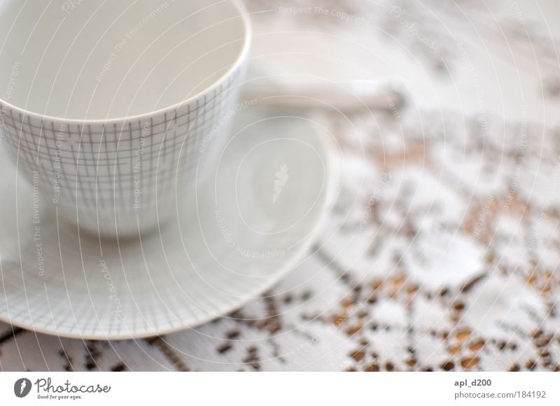 Cup empty Colour photo Subdued colour Interior shot Close-up Pattern Copy Space right Day Light High-key Shallow depth of field Nutrition Beverage Hot drink