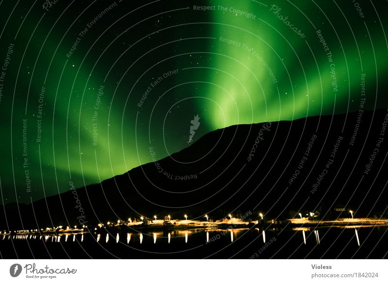 northern lights IV Nature Sky Heaven Clouds Night sky Horizon Autumn Aurora Borealis Fjord Movement Exceptional Infinity Humble Mysterious Surrealism Light