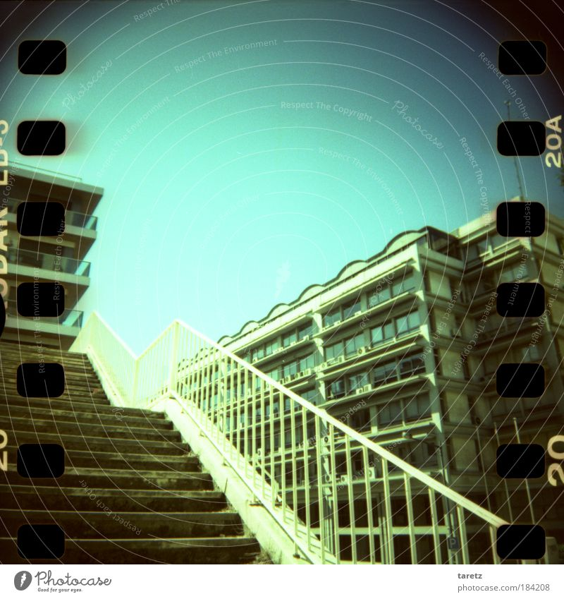 City Summer Calm Loneliness House (Residential Structure) Stone Metal Bright Lomography Portugal Facade High-rise Stairs Empty Letters (alphabet)