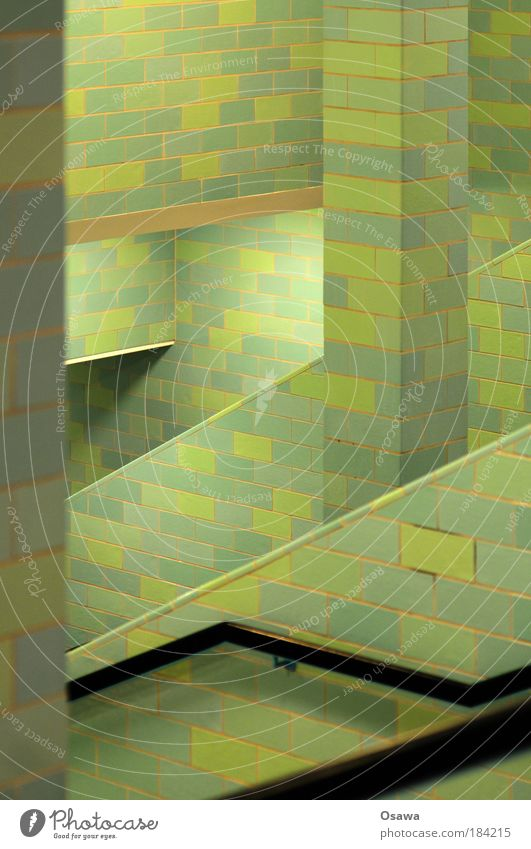|// Tile Wall (building) Green Prop Column Stairs Alexanderplatz Underpass Berlin Subsoil Abstract Diagonal Grid Structures and shapes Pattern