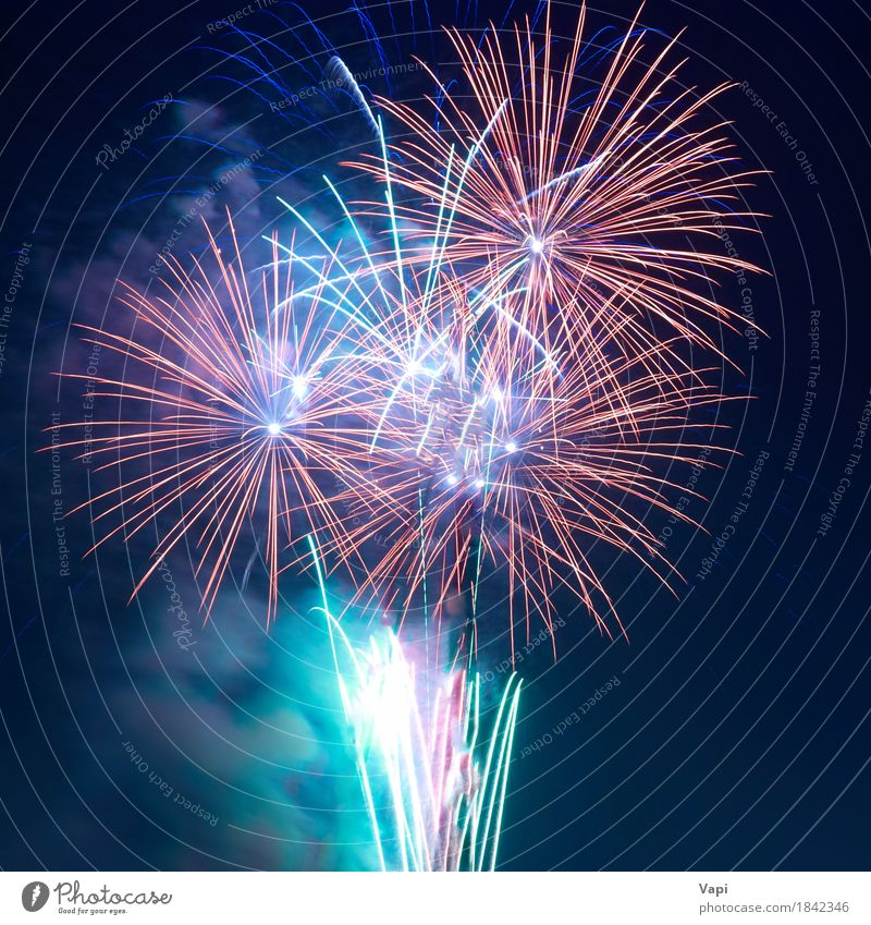 Colorful fireworks Sky Blue Christmas & Advent Colour Green White Red Joy Dark Black Yellow Freedom Feasts & Celebrations Party Pink Bright
