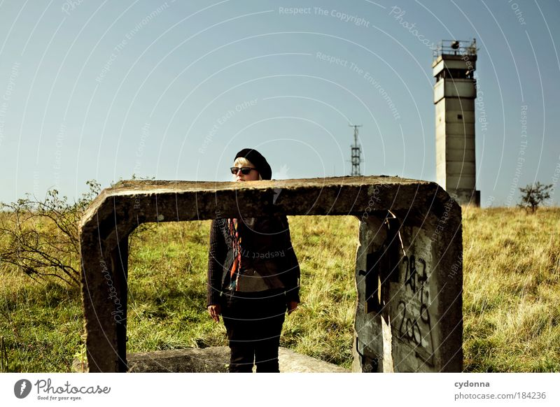 Uffpass! Colour photo Exterior shot Copy Space top Day Light Shadow Contrast Sunlight Shallow depth of field Central perspective Front view Looking away Woman