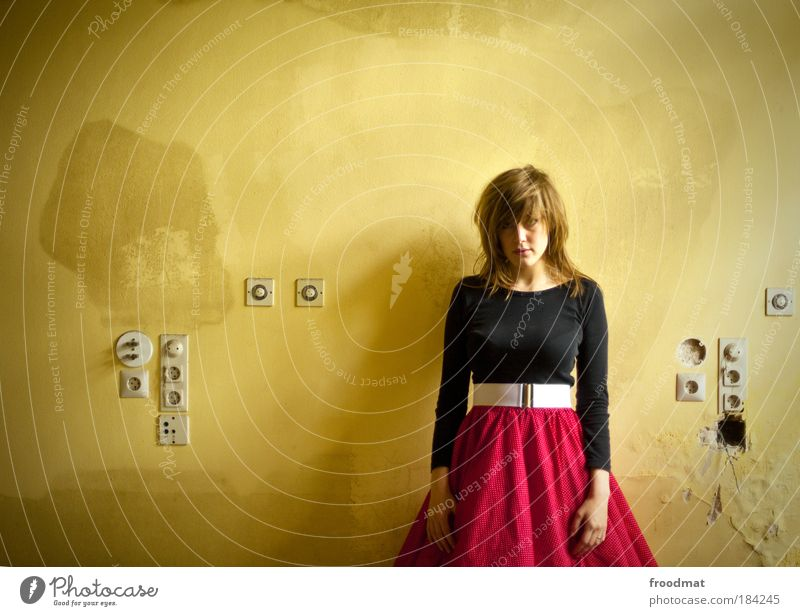 socket strip Colour photo Subdued colour Interior shot Day Central perspective Upper body Front view Looking into the camera Human being Feminine Young woman