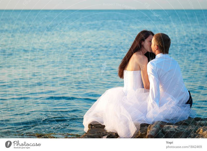 Beautiful wedding couple at the beach Human being Woman Nature Youth (Young adults) Man Blue Summer Beautiful Young woman Water White Young man Ocean Landscape Beach 18 - 30 years