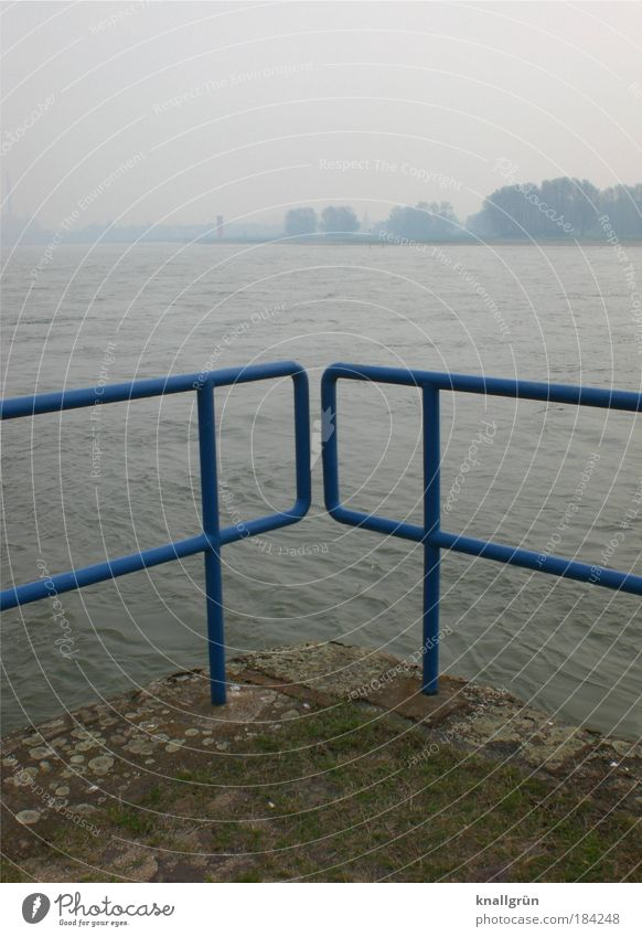 Water Blue Cold Gray Landscape Brown Fog Weather Horizon Gloomy River Handrail River bank Rhine Duisburg Bad weather