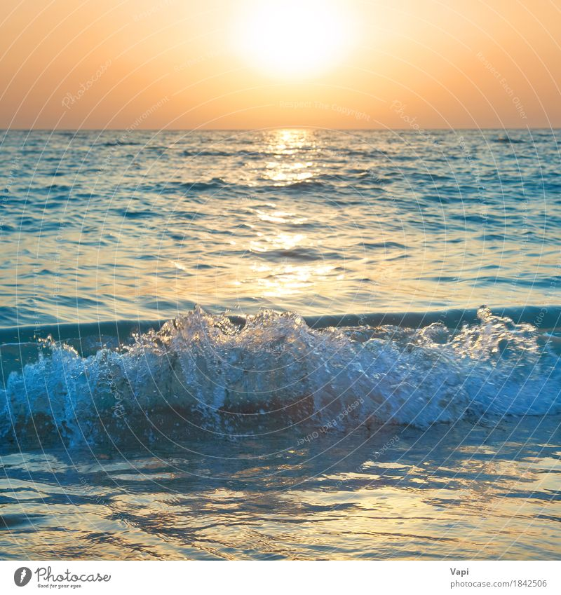 Sunset above the sea Vacation & Travel Summer Summer vacation Beach Ocean Waves Nature Landscape Sand Water Sky Horizon Sunrise Sunlight Beautiful weather Storm