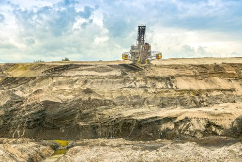 surface mining Machinery Technology Energy industry Industry Environment Landscape Earth Sand Brown Environmental protection Decline Past Transience Change