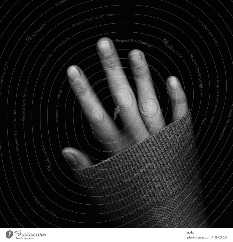 hand Feminine Hand Fingers Fingernail Sweater sleeve Touch Cold Loneliness Stretching Hide Cover Black & white photo Detail Experimental Neutral Background