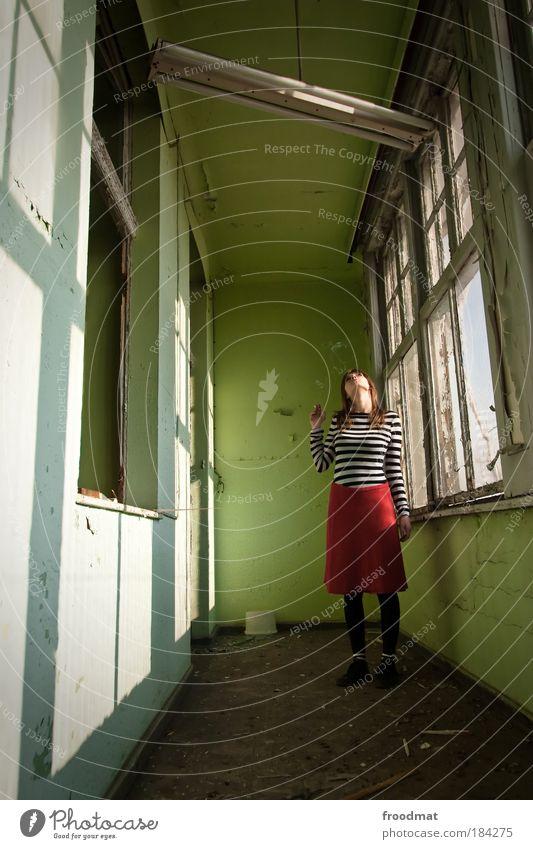 Woman Human being Green Adults Feminine Window Dream Lamp Dirty Broken Stand Change Gloomy Retro Transience