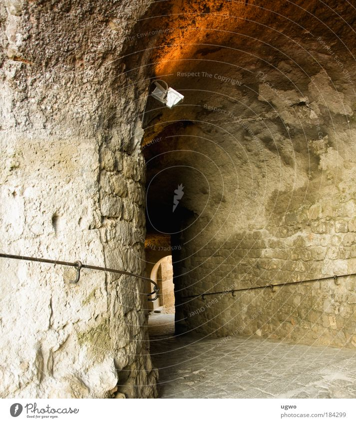 through the wall Subdued colour Exterior shot Day Central perspective Old town Tunnel Wall (barrier) Wall (building) Stone Discover Brown Gold Calm Culture