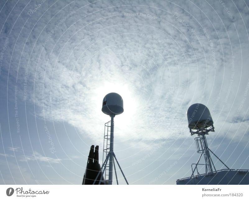 Solar clouds behind ship antennas Colour photo Subdued colour Exterior shot Deserted Copy Space left Copy Space top Light Silhouette Light (Natural Phenomenon)