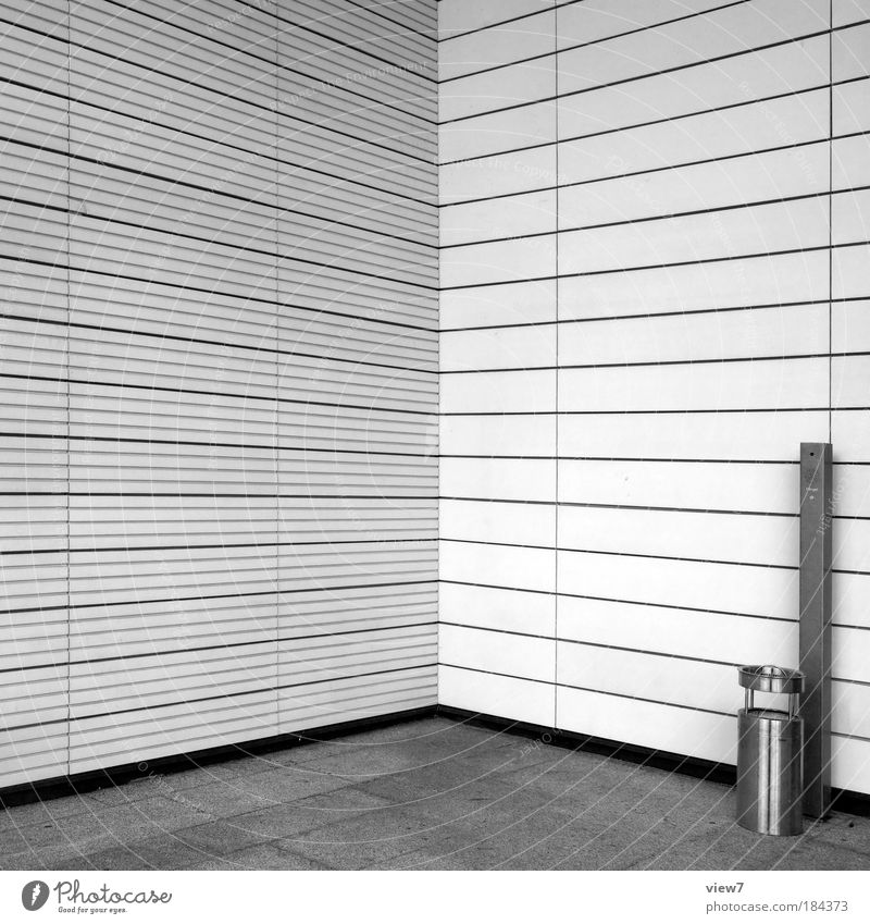 smoking corner Black & white photo Exterior shot Detail Deserted Copy Space left Copy Space top Light Deep depth of field Central perspective