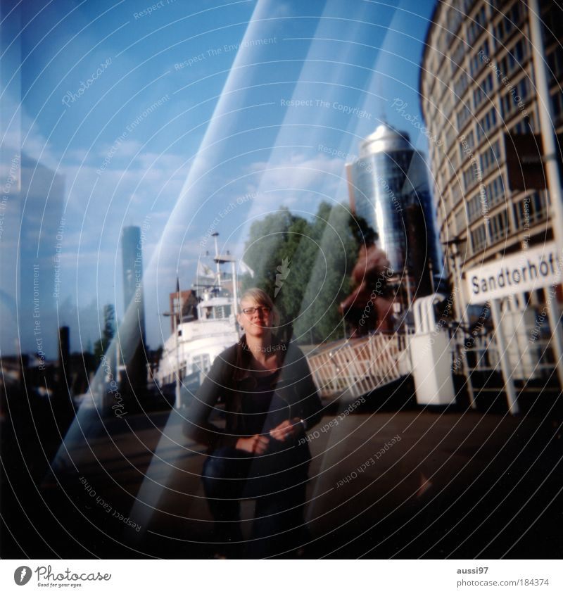 Human being Man Adults Think Dream Couple Holga Masculine Hamburg Harbour Longing Partner Male senior Double exposure Self portrait 30 - 45 years