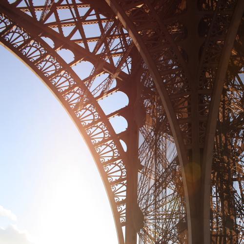 Eiffel Tower Colour photo Exterior shot Detail Pattern Structures and shapes Copy Space left Light Contrast Reflection Sunlight Sunbeam Back-light Tourism