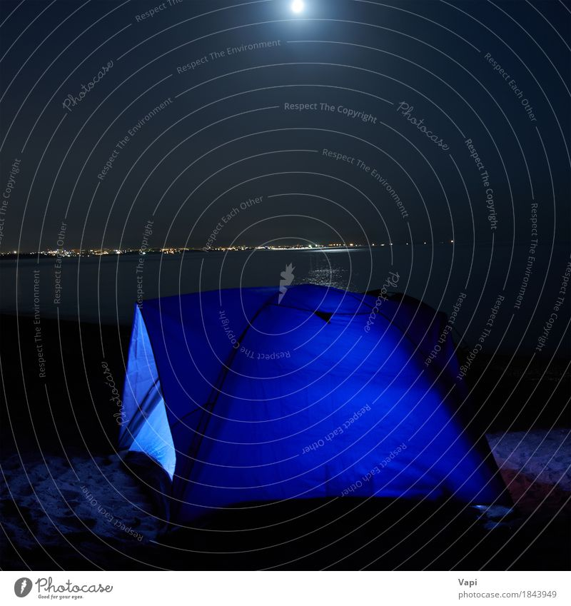 Blue illuminated tent at night on the beach Relaxation Leisure and hobbies Vacation & Travel Tourism Adventure Camping Summer Summer vacation Beach Mountain