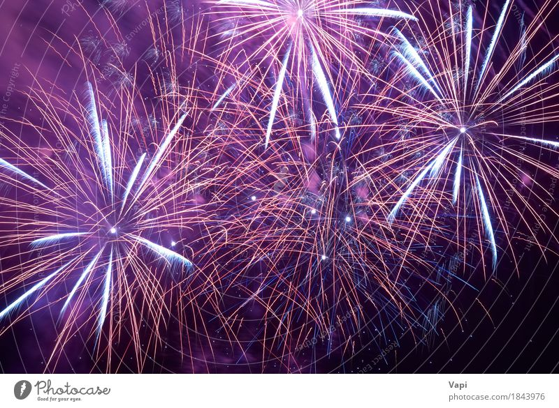 Colorful holiday fireworks Sky Blue Christmas & Advent Colour White Red Joy Dark Black Feasts & Celebrations Party Bright Violet New New Year's Eve Night life