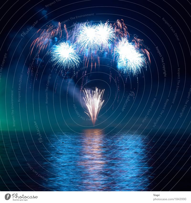 Colorful fireworks on the black sky Sky Blue Christmas & Advent Colour Green Water White Red Joy Dark Black Art Feasts & Celebrations Party Lake Orange