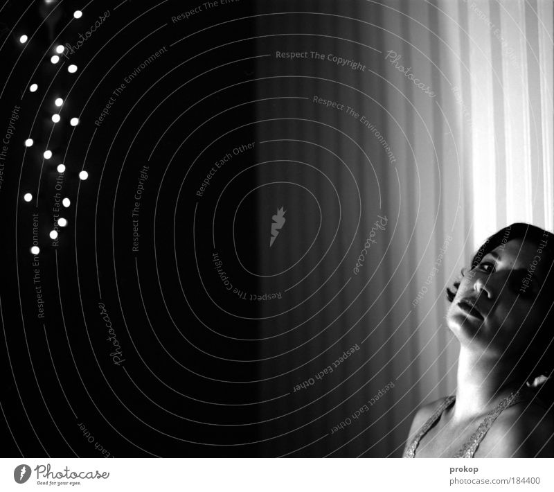 shooting star Black & white photo Interior shot Artificial light Central perspective Portrait photograph Looking into the camera Night life Feminine Young woman