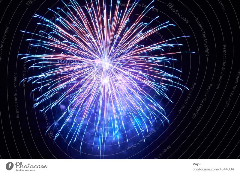 Blue colorful fireworks Joy Freedom Night life Entertainment Party Event Feasts & Celebrations Christmas & Advent New Year's Eve Art Sky Night sky Dark Bright