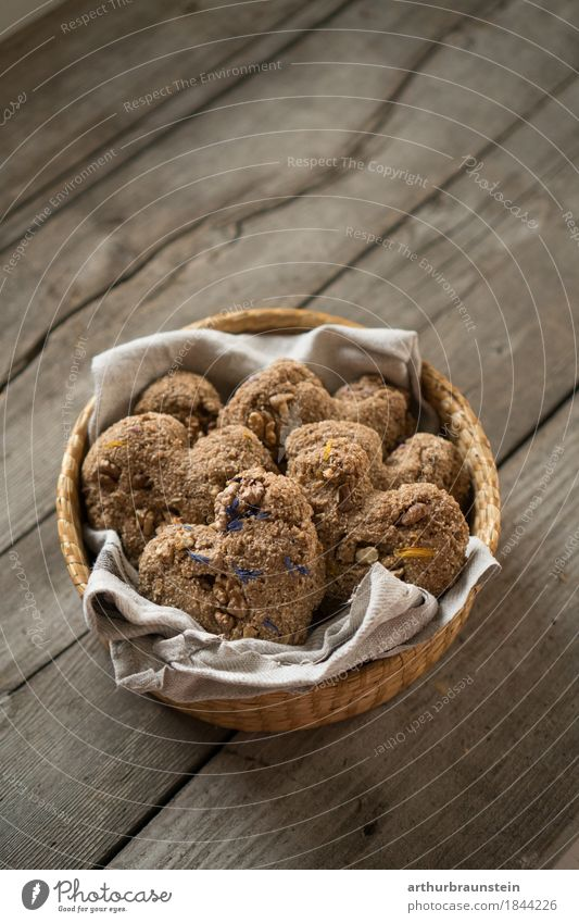 Baked heart biscuits with flowers in basket Food Dough Baked goods Bread Roll Candy Herbs and spices Cookie Flower Blossom Nutrition To have a coffee