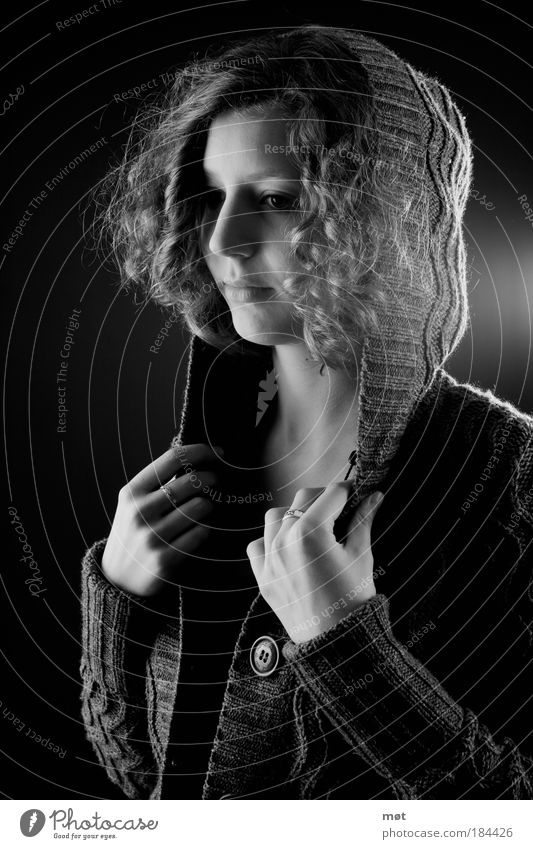 let go Black & white photo Interior shot Studio shot Artificial light Flash photo Light Shadow Contrast Portrait photograph Front view Half-profile Looking away