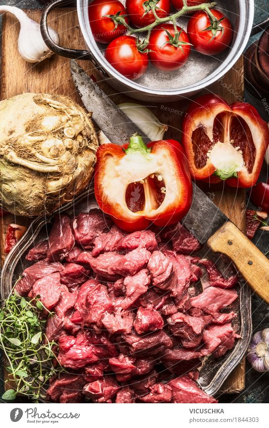 Beef, vegetable ingredients, kitchen knife and saucepan Food Meat Vegetable Lunch Dinner Buffet Brunch Organic produce Crockery Bowl Pot Knives Style Design