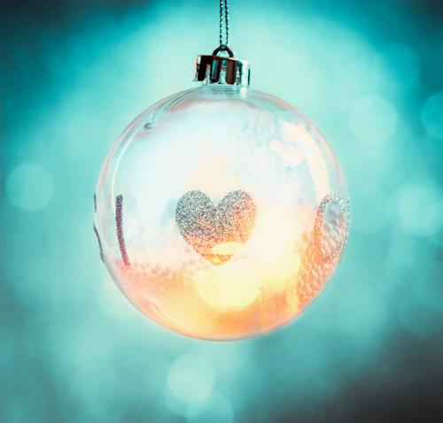 Illuminated Christmas ball with heart Style Design Joy Winter Decoration Feasts & Celebrations Christmas & Advent Sphere Moody Happy Happiness Anticipation