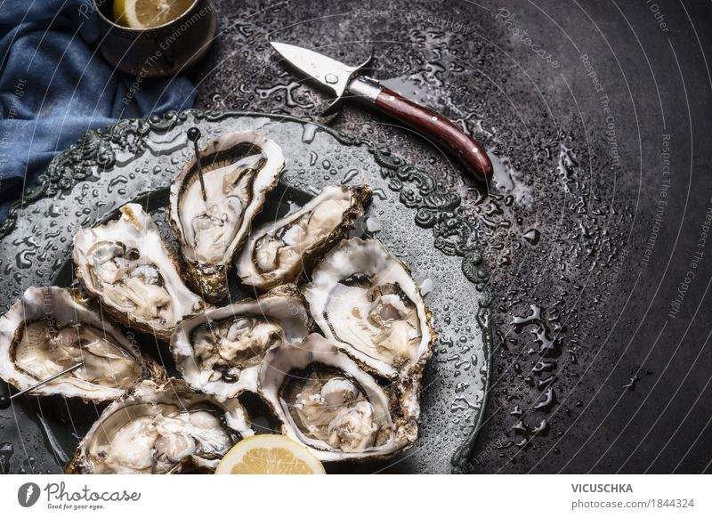 Healthy Eating Food photograph Style Design Nutrition Open Restaurant Crockery Plate Knives Lemon Banquet Holiday season Seafood Oyster