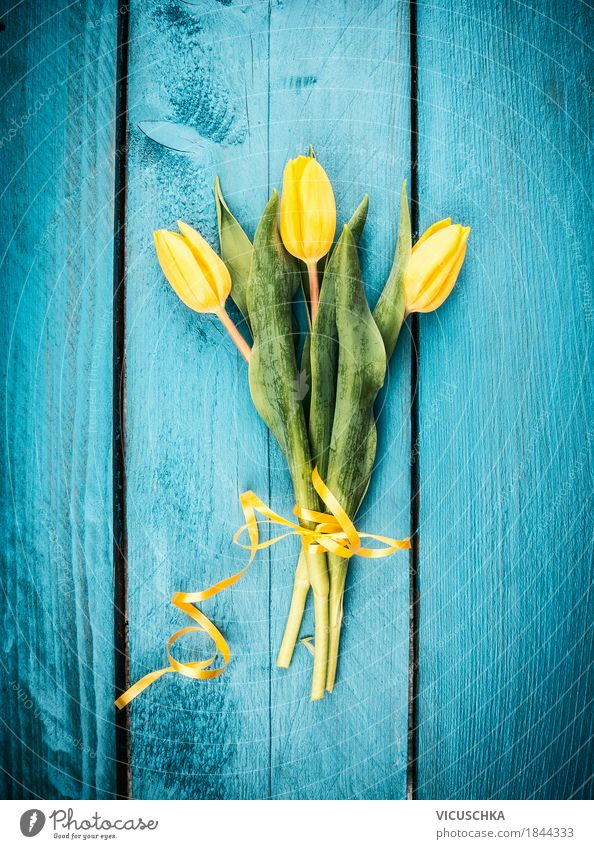 Nature Plant Blue Flower Yellow Love Spring Style Feasts & Celebrations Moody Design Birthday Blossoming Gift Easter Bouquet