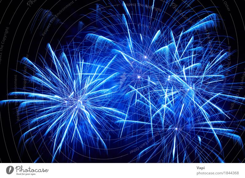 Blue colorful fireworks Sky Christmas & Advent Colour White Joy Dark Black Art Freedom Feasts & Celebrations Party Bright New Event New Year's Eve
