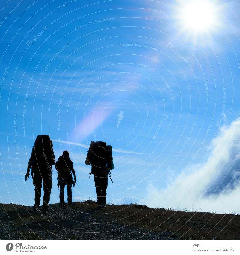 Silhouette of hiking friends Lifestyle Leisure and hobbies Vacation & Travel Tourism Trip Adventure Freedom Expedition Summer Summer vacation Sun Mountain