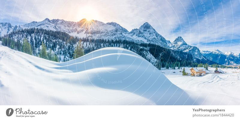 Mountain village and snowy Alps Sky Nature Vacation & Travel Blue Christmas & Advent Green Beautiful White Sun Tree Landscape House (Residential Structure) Joy Winter Forest Mountain