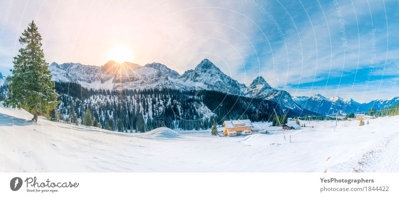Snowy panorama in the Alps mountains Sky Nature Vacation & Travel Blue Green White Sun Tree Landscape House (Residential Structure) Joy Winter Forest Mountain Cold Meadow