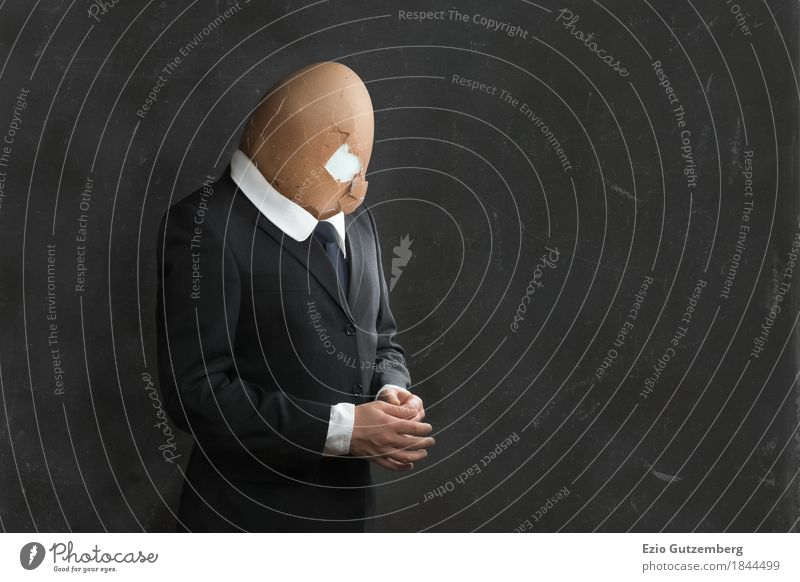 Businessman with egg head Work and employment Profession Office Financial institution Company Career Human being Masculine Man Adults Body Head 1 30 - 45 years