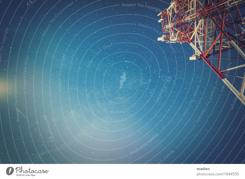 listening point Telecommunications Industry Sky Cloudless sky Stars Infinity Blue Red White Moonlight Broadcasting tower Steel construction Colour photo