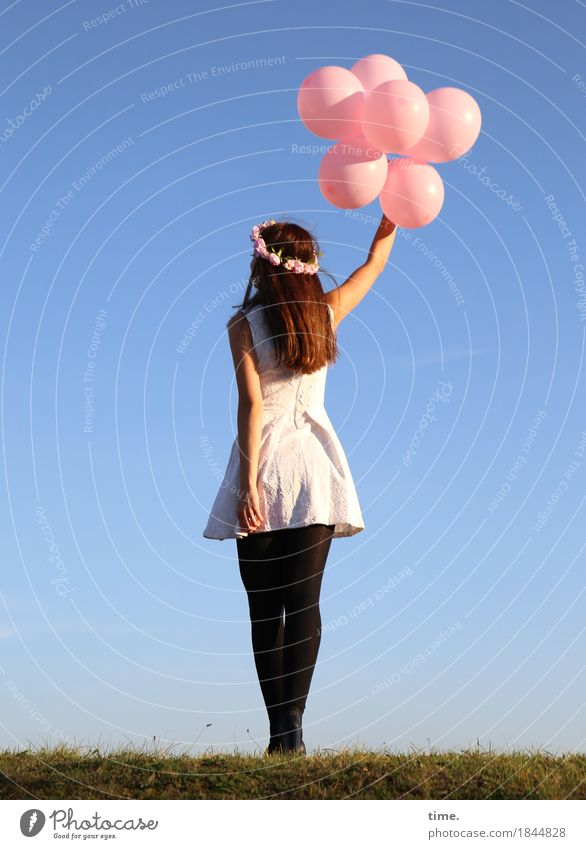 . Feminine 1 Human being Beautiful weather Meadow Dress Tights Jewellery Hair accessories Brunette Long-haired Balloon Old To hold on Stand Dance Happiness Joy
